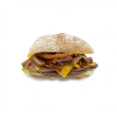 """Le """"Texan"""" Roastbeef - Cheddar - Bacon (Pavé au levain)"""