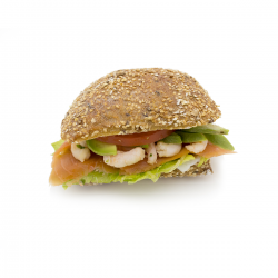 Super fish - smoked salmon, plain shrimp and avocado (wholemeal with seeds pavé)
