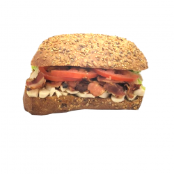 """Le """"Poulet Bacon Citron"""" poulet rôti, bacon grillé, sauce citron (Pavé complet aux graines)"""