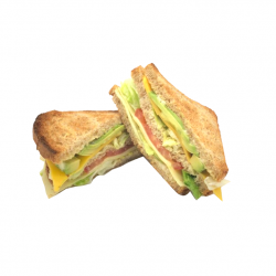 """Le club """"G.C.T.A"""" Grilled cheese, tomatoe & avocat. (Club toast complet Anglais)"""